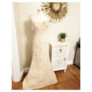 NWT Jovani Cream One Shoulder Full Gown Size 4